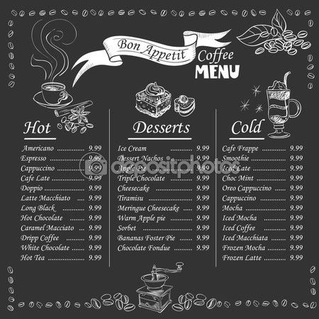 Set of coffee menu with a cups of coffee drinks in vintage style stylized drawing with chalk on blackboard. Lettering Know your coffee. excellent vector illustration, EPS 10 — Illustrazione stock #74595917