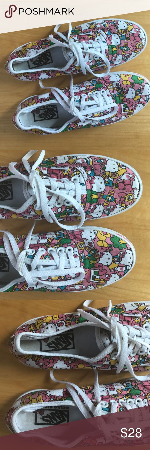 Vans Hello Kitty Lace Up Sneakers Excellent used condition, clean shoes. Condition shown in photos. Size 6 for women, men's 4.5. Vans Shoes Athletic Shoes