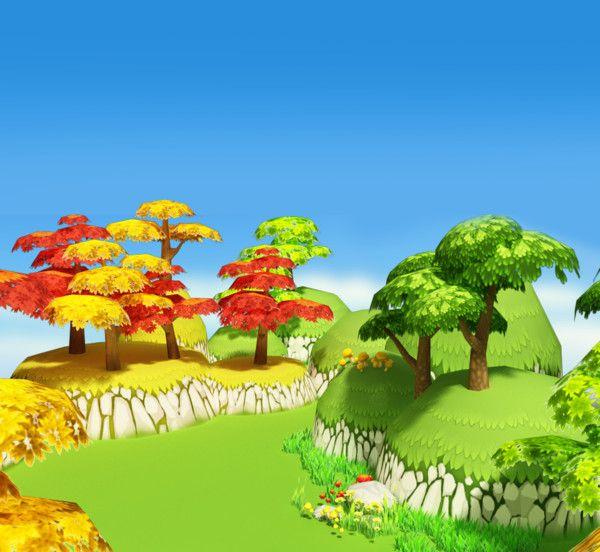 Trees Flower Max - 3D Cartoon Forest... By Kobaki