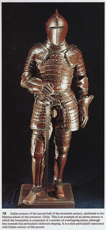 Anima/anime plate armour, this style of armor appeared in Italy in the first half of the 16th century, it is composed of multiple overlapping plates.