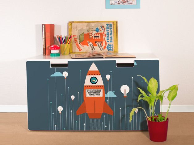 """YOURDEA® we refresh your IKEA furniture. Refine your IKEA STUVA box with an original yourdea® furniture sticker """"Rock the World"""". The foil is easy to apply and can be wiped clean with a damp..."""