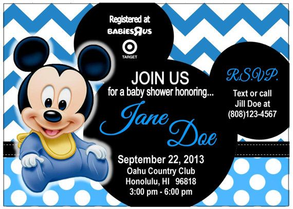 Baby Shower Baby Mickey Mouse Invite On Etsy 10 00 Products I