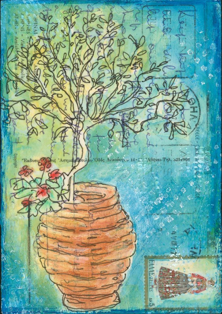 Tree in a Pot - an original painting created on a vintage postcard by Gill Tomlinson. This is actually a painting of my own little olive tree, which stands in an old pot outside the door of my studio in Greece
