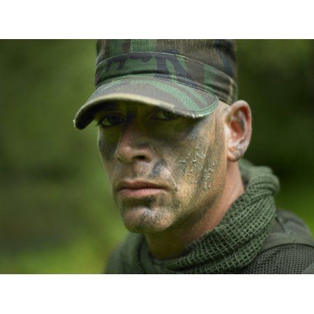 US Special Forces soldier with camouflage face paint Canvas Art - Tom WeberStocktrek Images (17 x 13)
