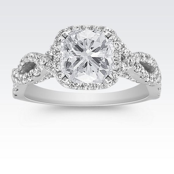 Infinity Halo Diamond Engagement Ring with Pavé Setting with Cushion Cut Diamond from Shane Co. Available with your choice of ruby, diamond or sapphire center stone.