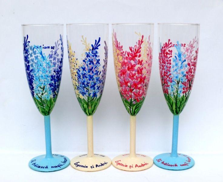 """Set+pahare+nunta+""""Lilac+Flowers"""""""