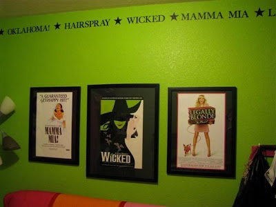 It would be cool to have a Broadway theme in the music room. Maybe not green, but it's definitely a cool idea.