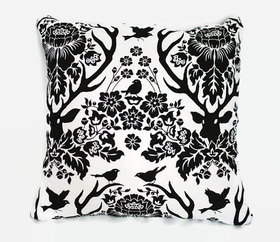Black and white damask decorative cushion pillow covers. 1