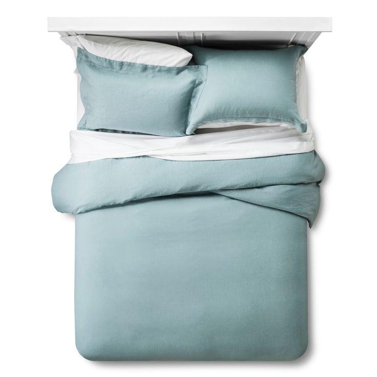 Linen Comforter & Sham Set (Full/Queen) Aqua (Blue) 3pc - Fieldcrest