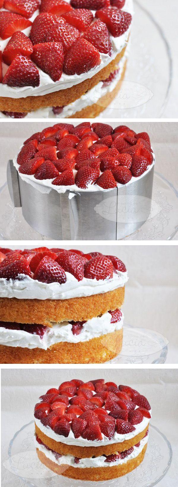 Tarta de fresas y crema de queso