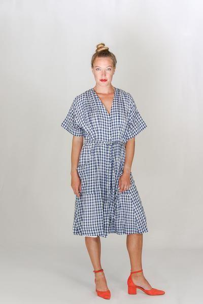 d4f7a0cee14 Trovata V-Neck Sophie Shirt Dress in Blue Check – Tamarind