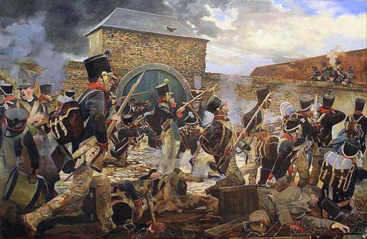 Quiot`s troops to the assault at La Haye Sainte Battle of Waterloo 1815