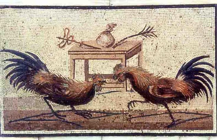 Combattimento di galli - Sul tavolo: il caduceo di Mercurio, il sacchetto di monete che andrà al proprietario del vincitore e la palma - Museo Arch. Naz. Napoli