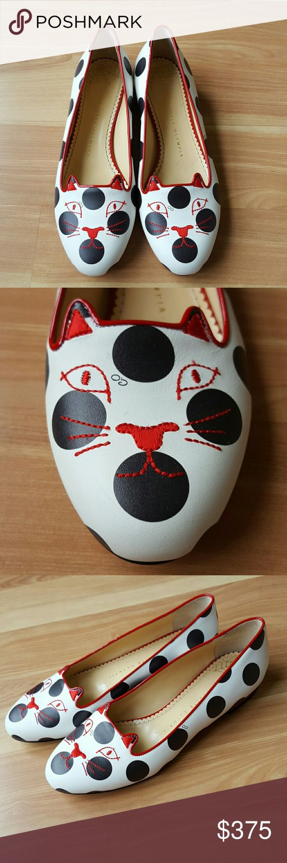 Charlotte Olympia Polka Dot Kitty Flat A pair of red ears and a stitched face hint at the iconic feline origins of a calfskin leather flat covered in black-and-white polka dots.  Lightly padded footbed Leather upper, lining and sole Made in Italy  Fits US 7.5 to US 8 New with very little shopware.   No box or dust bag. No trades.  Thanks for looking! Charlotte Olympia Shoes Flats & Loafers