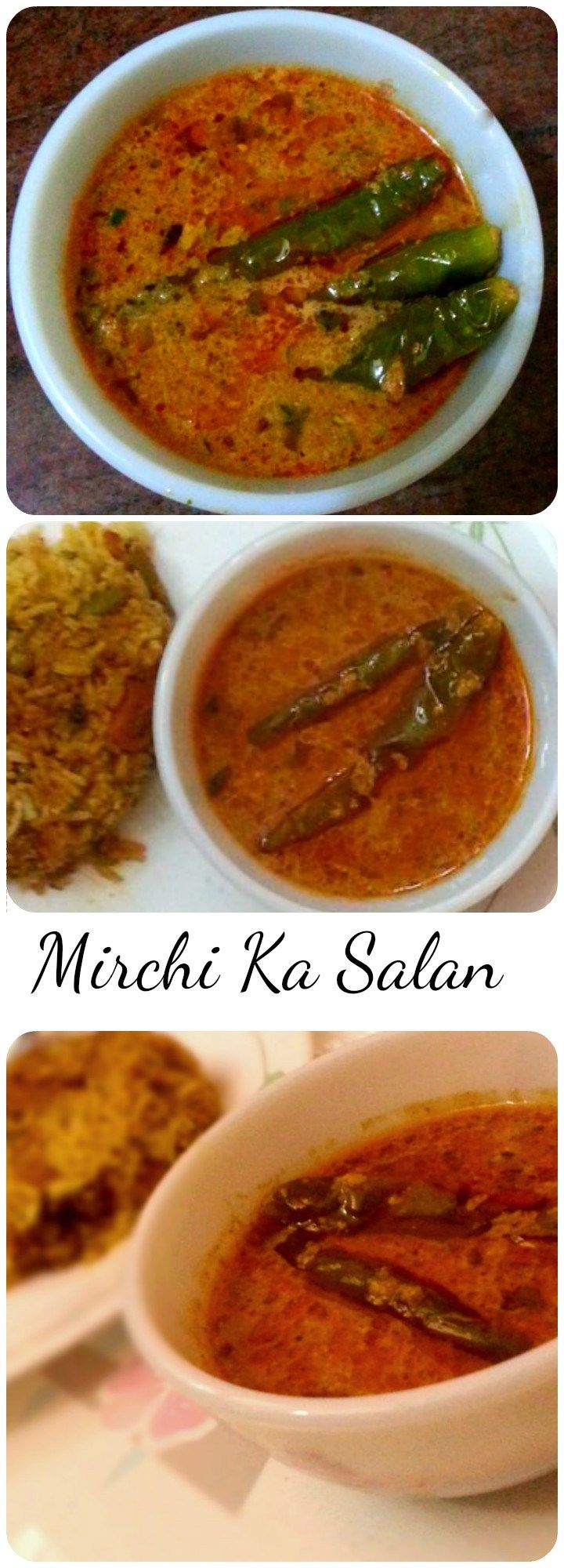Mirchi Ka Salan is a gravy dish in wish shallow fried Green Chilies are cooked in Tangy gravy made from Coconut,Onions,Sesame seeds, peanuts with other spices added.