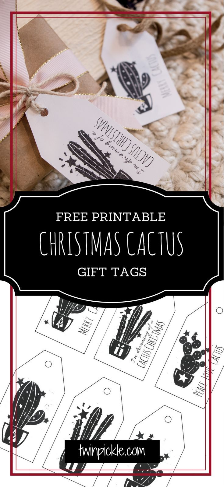 I've been exploring linoleum block printing and have created some festive cactus designs for this year's Christmas cards. In the process I've made some printable Christmas cactus gift tags which you can download for free! Have a very merry cactus Christmas :) #craft #holiday #Christmas #gifttags #printable