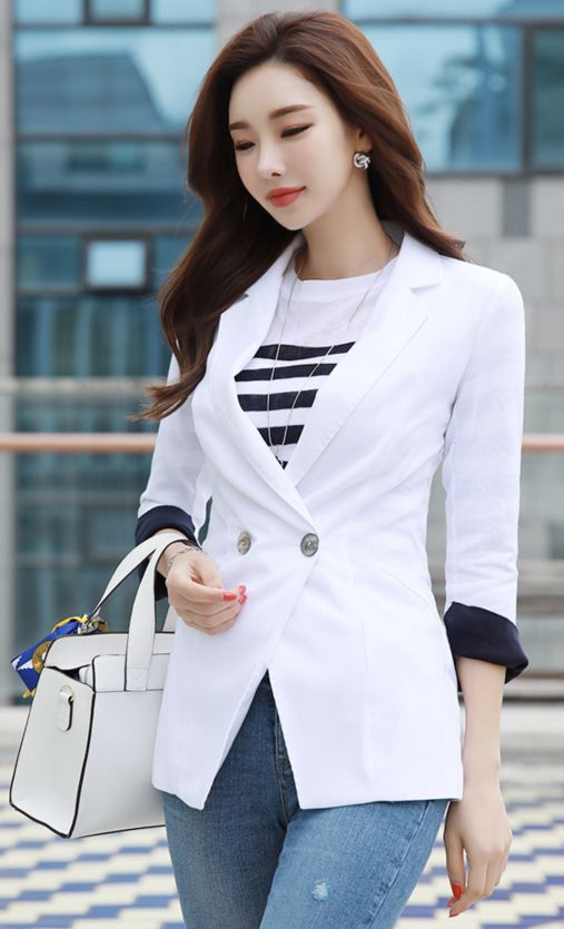 StyleOnme_Linen-blend Stitch Detail Tailored Jacket #white #linen #tailored #jacket #chic #koreanfashion #kstyle #kfashion #springtrend #dailylook