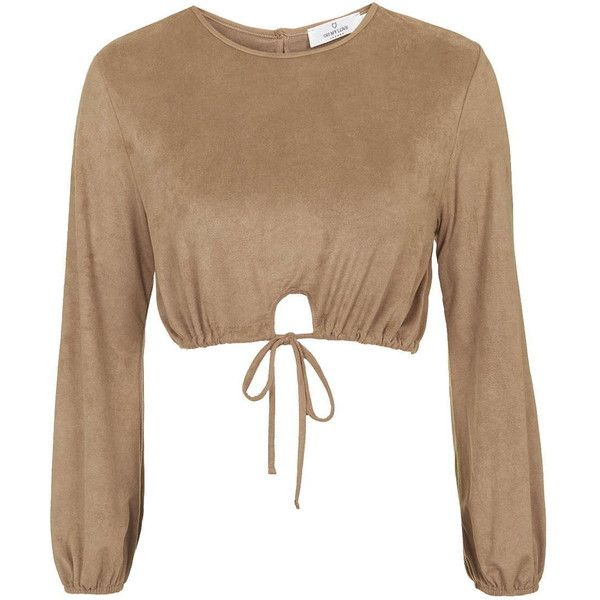 Tie-Front Blouse by Oh My Love (£28) ❤ liked on Polyvore featuring tops, blouses, tan, long sleeve crop top, long sleeve blouse, topshop tops, tie front top and tie front crop top