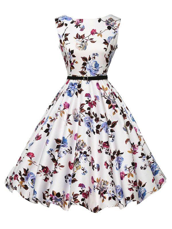 Flare multicolor vestido Sash impressão poliéster vestido Vintage - Milanoo.com