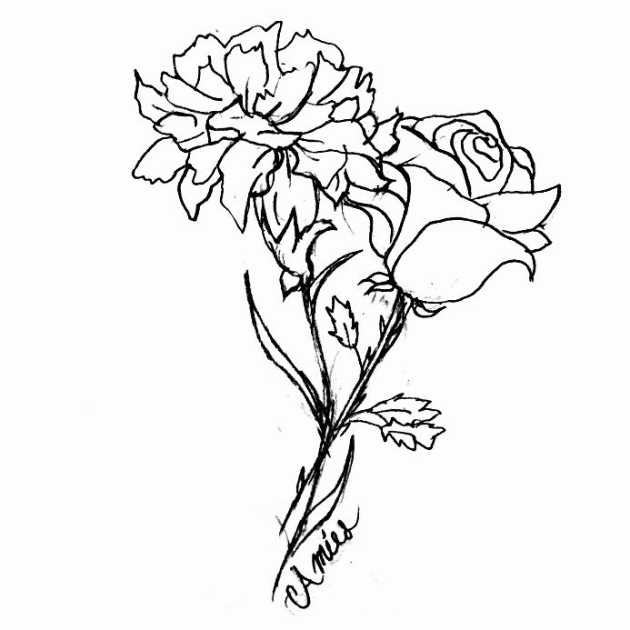 Tattoo I Drew For A Friend And I Carnation And Rose Both Our Birth Flowers Rose Flower Tattoos Carnation Tattoo Vintage Tattoo