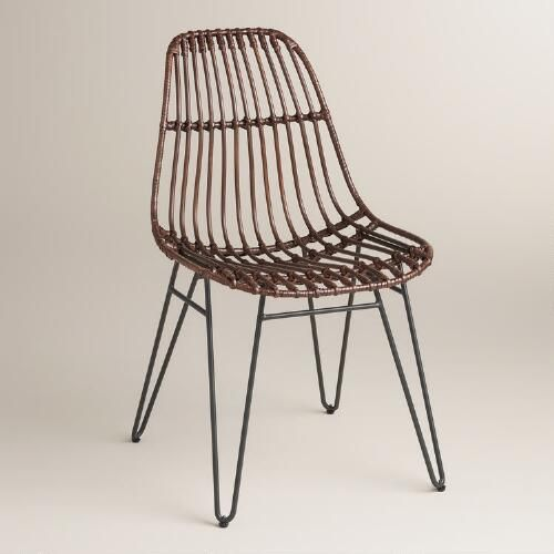 A Shapely Swivel Seat Inspired By Mid Century Design Our: Rattan Flynn Hairpin Dining Chairs With Rustic Legs Set Of