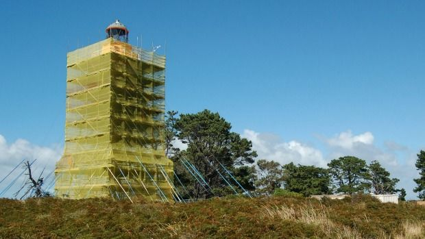 The Farewell Spit Lighthouse as it was being refurbished.