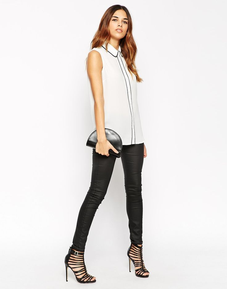 ASOS Sleeveless Blouse With Contrast Piping
