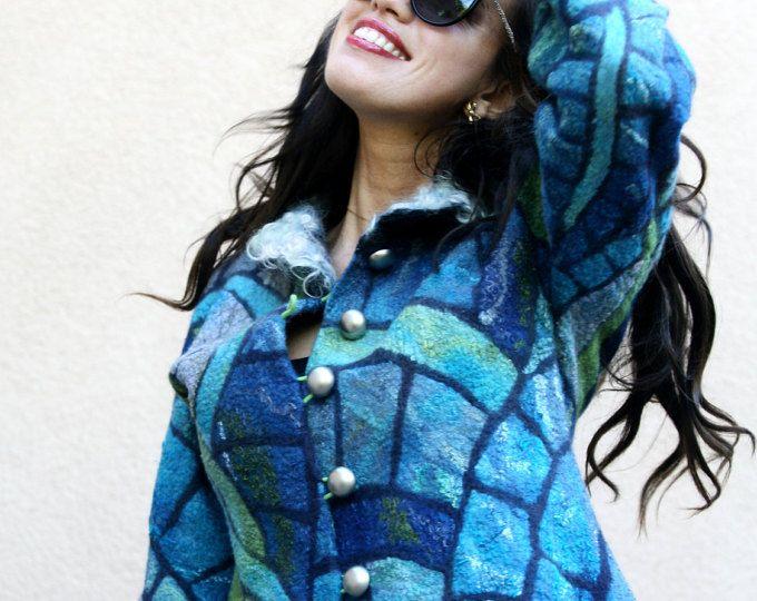Nuno gefilzt Eco Mode Spaß blauen Mosaik Tiffany Jacke Frau handgemachte einzigartige Strickjacke Wolle Frauen kurze warme Jacke OOAK tragbare Kunst zum tragen