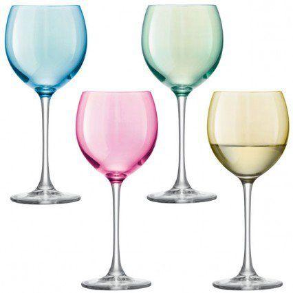 LSA Polka Wine Glasses - set of 4 pastel coloured wine glasses
