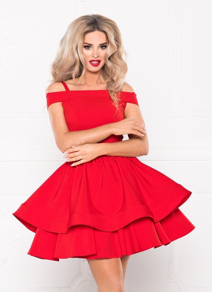985bc6a335 Sukienka z Odkrytymi Ramionami SHE01 Czerwona