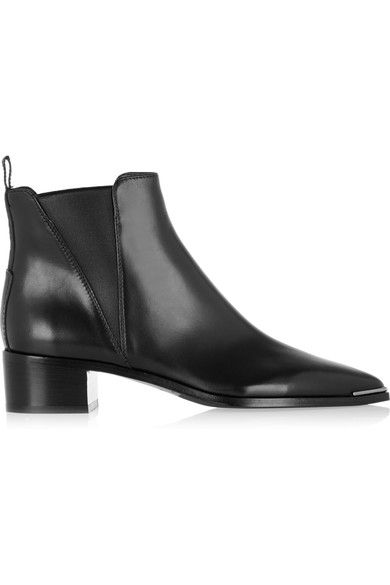 Heel measures approximately 40mm/ 1.5 inches Black leather Pull on