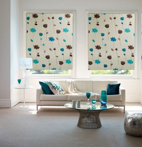 Floral Trail Teal Patterned Blackout Thermal Blinds