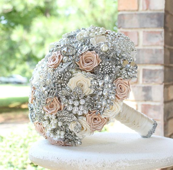 Blush Wedding Brooch Bouquet. Blush Ivory and by annasinclair