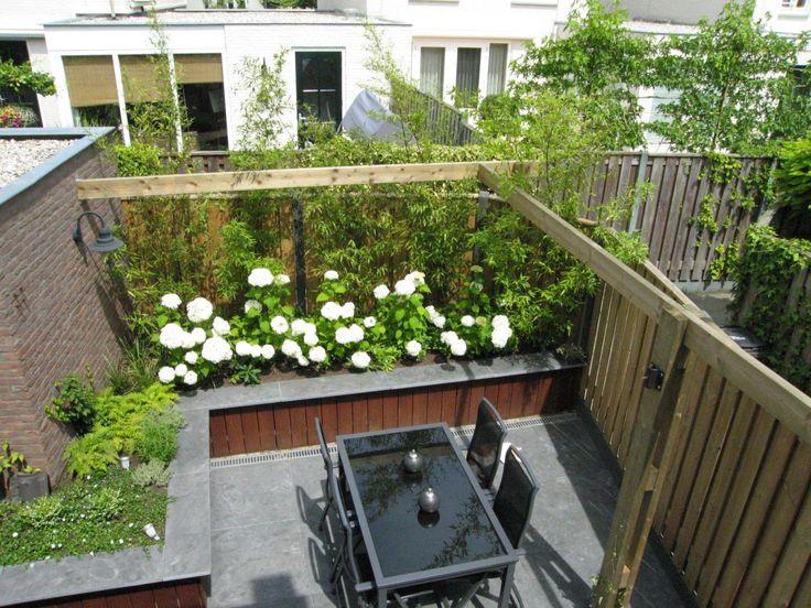 Leuke verhoogde border met annabellen en bamboe iets voor achter in de tuin huis tuin - Bamboe in bakken terras ...