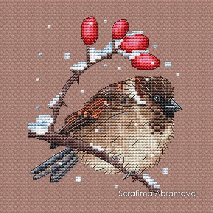 "Cross stitch design ""House Sparrow"" #sa_stitch #sa_pattern #pattern"