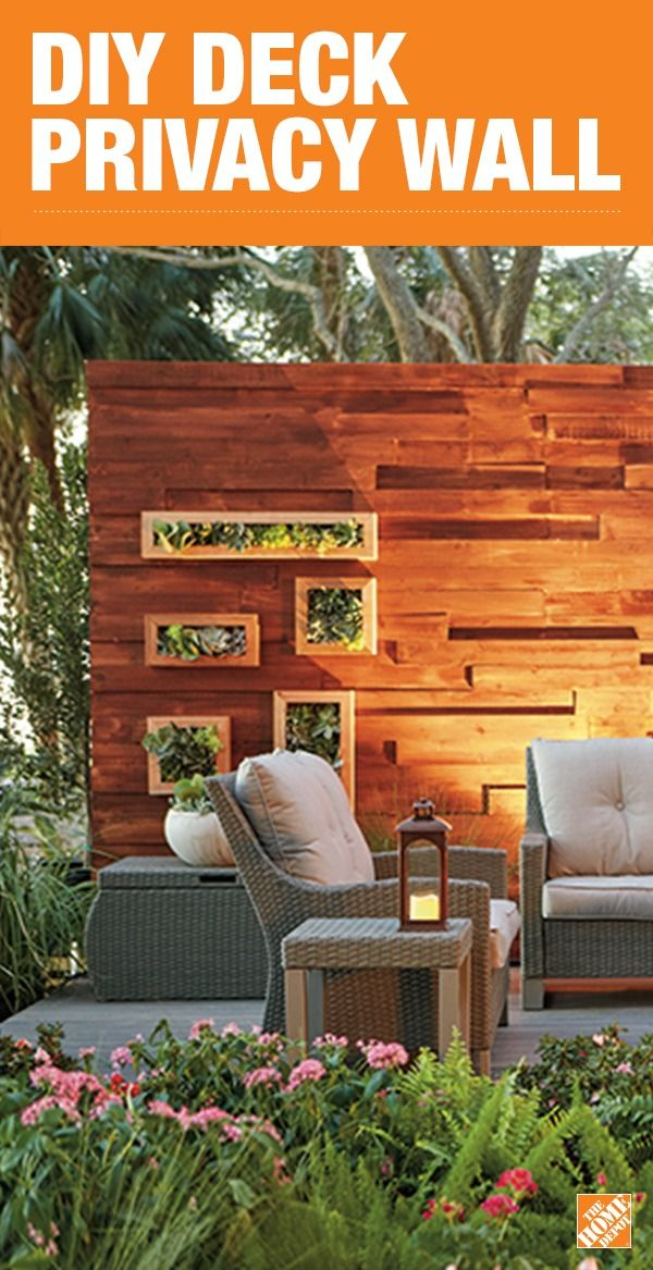 Build this eye-catching DIY privacy wall for your deck to enjoy peace and quiet. Incorporate this gorgeous patio furniture and a fire pit to complete the look of your outdoor oasis. Click to get the step-by-step.