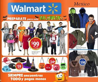 Catalogo Walmart Mexico, con disfraces para Halloween 2015. El folleto  tambien trae Ropa