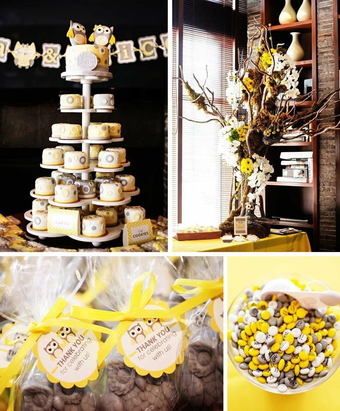 Grey amp yellow owl themed baby shower full of ideas on www