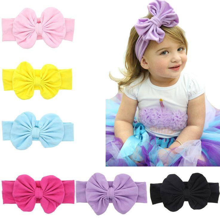 Kids Grote Boog Knoop haarband Pasgeboren Elastische haar Boog Accessoires Ring Katoen hoofdband Hoofd Wrap Hoofddeksels W138