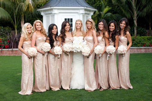 Champagne colored bridesmaid dresses and white bouquets, photo by John and Joseph Photography | junebugweddings.com