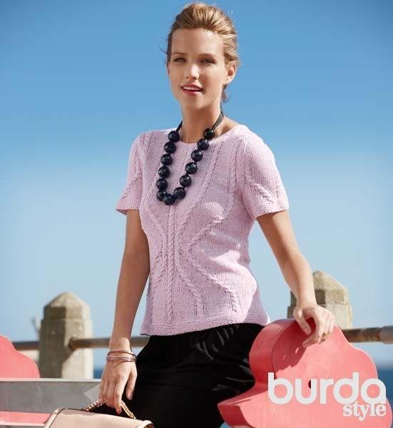 Розовый летний пуловер - схема вязания спицами. Вяжем Пуловеры на Verena.ru