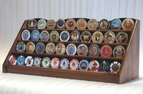 4 Rows Challenge Coin Casino Chip Display Rack Holder Stand -Walnut by sfDisplay.com, Factory Direct Display Cases. $55.99. Solid hardwood display rack of beautiful design and construction. A great way to display your coins, casino chips, military challenge coins, or service medals. This unique displays holds approximately 48 casino chips or 40 challenge coins. This is an excellent quality stand for display your collection. (chips and coins are not included).