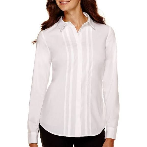 Worthington Essential Long-Sleeve Oxford Shirt - Petite, White (Size: Petite Large) - Womens - Shirts + Tops - Button-front Shirts