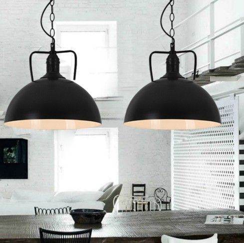Loft European And American Style Retro Black Metal Pendant Light Dining Room Bedroom Lamp Dia 300mm H 260mm-in Pendant Lights from Lights & Lighting on Aliexpress.com | Alibaba Group