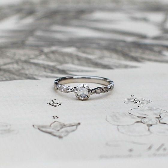 Image of platinum 3.9MM ROSE CUT DIAMOND RING {No.14028} larger ring size