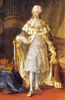 Gustav III (1746 - 1792). Son of Adolf Frederick and Louisa Ulrika of Prussia. He succeeded his father as King.