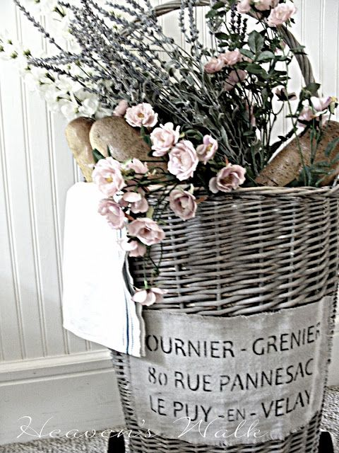 gorgeous French Shabby market basket...  Love the distressed gray basket. Would team with old silver accessories in guest bedroom or bathroom