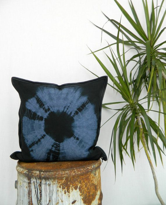 WAYFARER . tie dye cushion cover . indigo denim by bohemianbabes