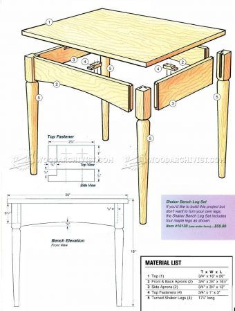 #1994 Shaker Bench Plans - Furniture Plans