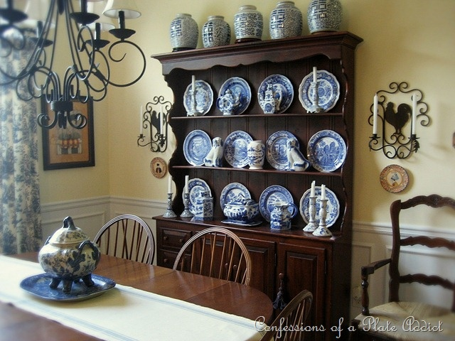Dining Room Hutch With Blue White Plate